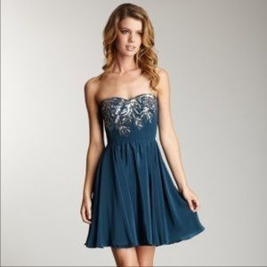 Strapless Rebecca Taylor dress silk and sequins